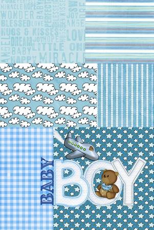 Blau Patchwork für Baby Boy with Teddy-Bär Standard-Bild - 9858365