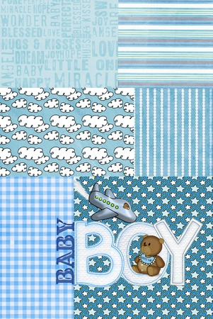 blue patchwork for baby boy with teddy bear