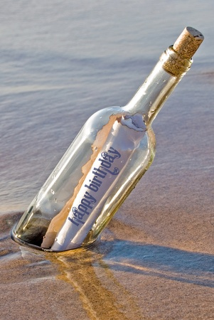 Happy Birthday message in a bottle.