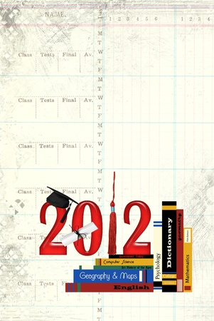 2012 graduation with books photo