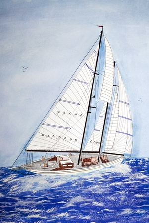 ship bow: Watercolor of sailboat on the the high seas. Stock Photo