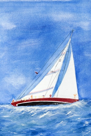 deportes nauticos: Velero escorante en aguas agitadas. Foto de archivo