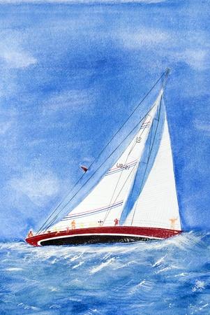 Zeilboot hellende in ruw water.
