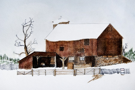 old barn in winter: Watercolor of an old barn in winter.