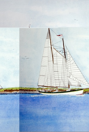 painting: Watercolor painting of sailboat in channel.