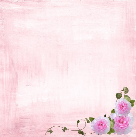 pastel flowers: rose and ivy border on pink textured background Stock Photo