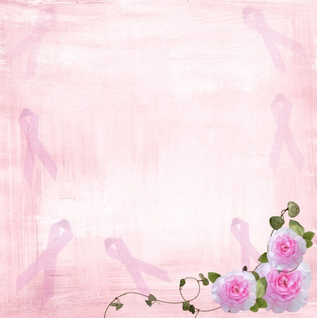 Pink ribbons and roses on textured background. Stock Photo - 10037683
