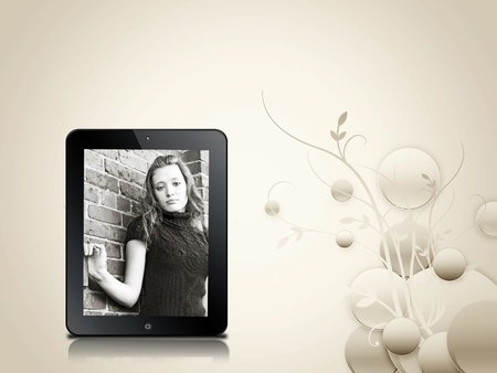 device: Photo of teen girl in electronic device. Stock Photo
