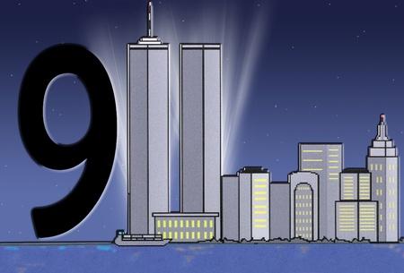 Lichtstralen achter de Twin Towers in New York.