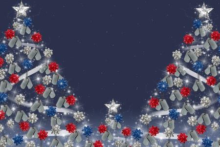 활을 가진 군사 강아지 태그 크리스마스 트리