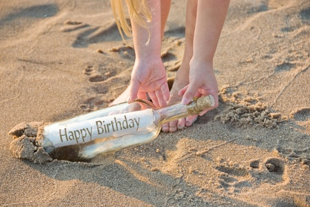 birthday message in a bottle photo
