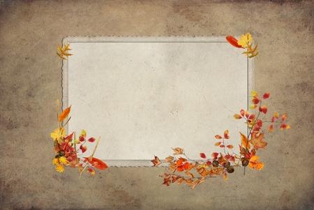 ウィッシュボーンと秋の紅葉と感謝祭のフレーム。