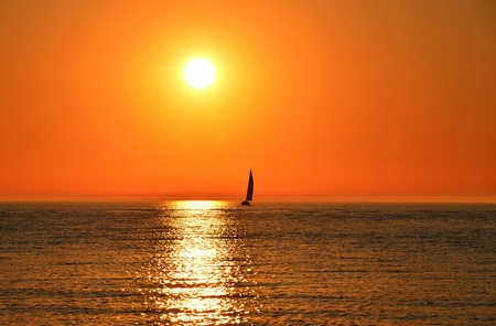Sailboat on Lake Michigan. Stock Photo