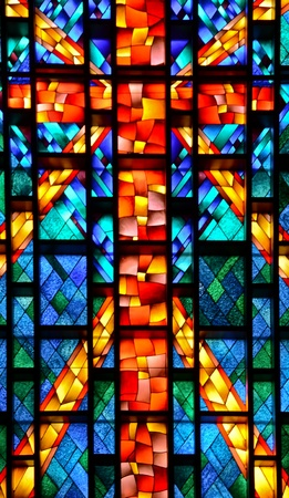 blue church: Stained glass church window.