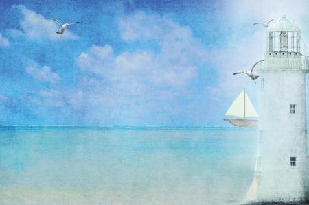 Witte vuurtoren en zeilboot op de oceaan.