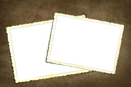 Old scrapbook snapshots on textured background. 版權商用圖片