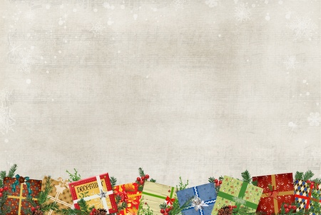 wintry: Colorful holiday gift border on wintry background. Stock Photo