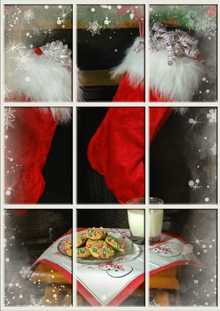 christmas fireplace: Milk and cookies for Santa Claus.