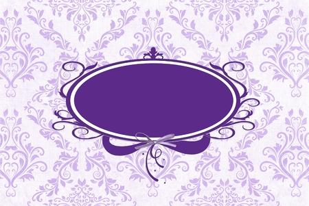ラベンダー花柄紫フレーム。