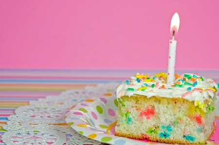 Confetti birthday cake with candle. photo