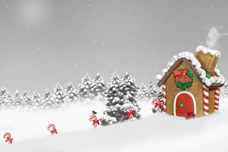 gingerbread house in snow Stock Photo - 11376310
