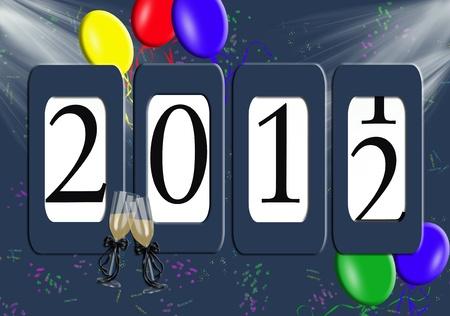 2012 nieuwe jaar kilometerteller met ballonnen