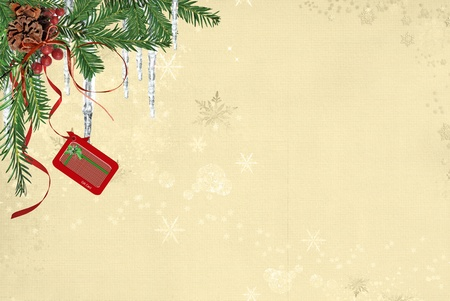 bough: Hanging gift card from pine bough with icicles.