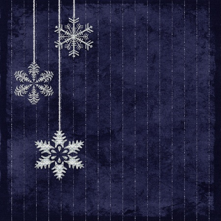 wintry: Silver snowflakes on navy blue pinstripe background. Stock Photo
