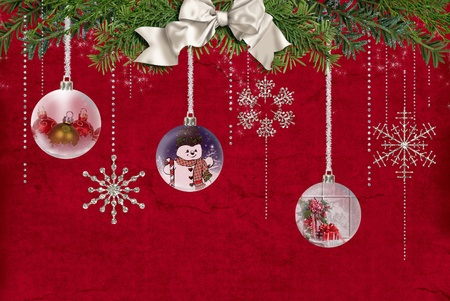 glittery: Christmas ornament with snowflakes on red.