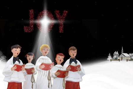 합창단: 눈 속에서 크리스마스 carolers입니다. 스톡 사진