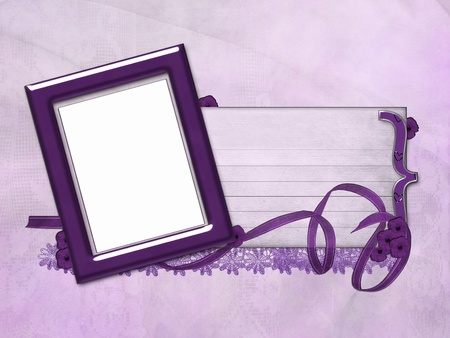 Purple frame with ribbon and lace.