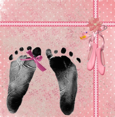 newborn footprint: Baby girl footprint with pink bow on toe. Stock Photo