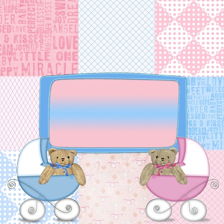 Blue and pink baby buggy with teddy bears.