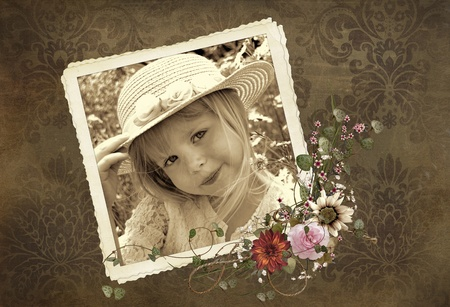 damask frame: Girl with hat in vintage snapshot with floral border.