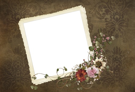 Vintage snapshot with floral bouquet on damask