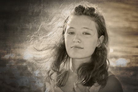 teenage girl with windblown hair with grunge texture Stock Photo - 11789211
