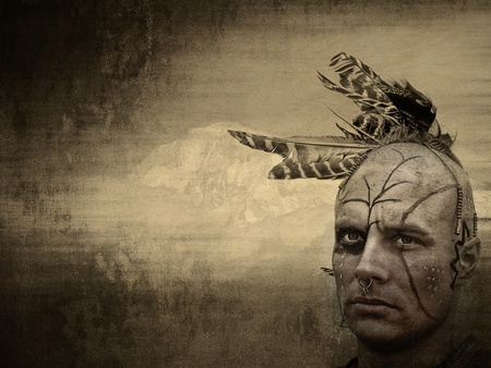american history: Native American with grungy texture. Stock Photo