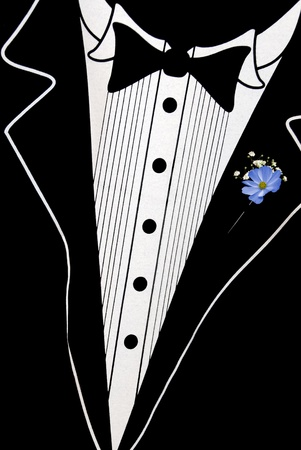 blue boutonniere on tuxedo photo