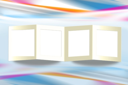 Folded frame on abstract background.