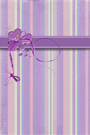 glittery: purple hearts with bow on stripes