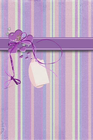 tag and purple hearts on stripes photo