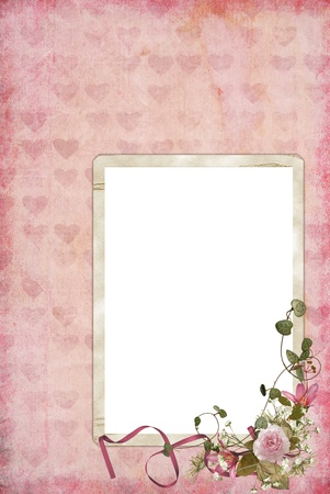 vintage bouquet on frame with hearts Imagens