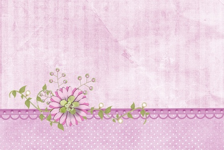 pink flower on pearl border with ivy photo