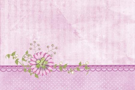 pink flower on pearl border with ivy Zdjęcie Seryjne