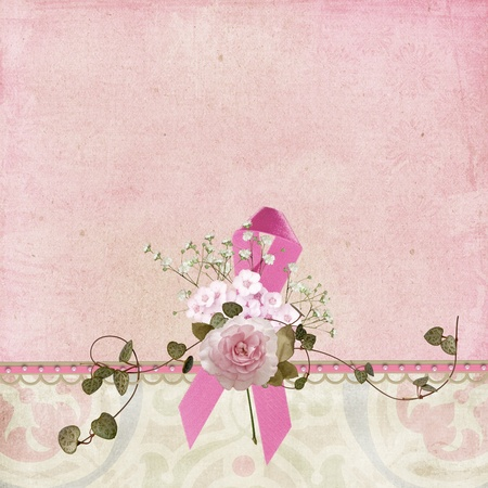 Breast cancer awareness ribbon with rose. Stock Photo
