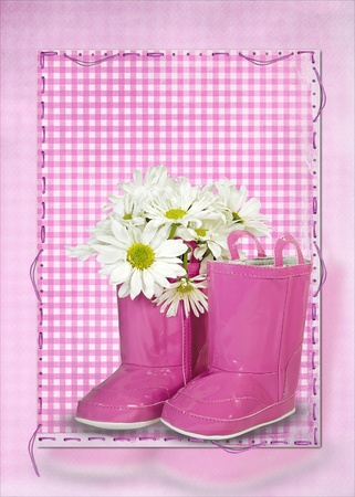 gingham: daisy bouquet in pink boot Stock Photo