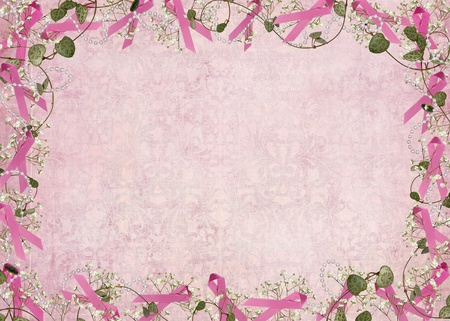 Breast cancer pink ribbon with pearls and ivy border Stock Photo