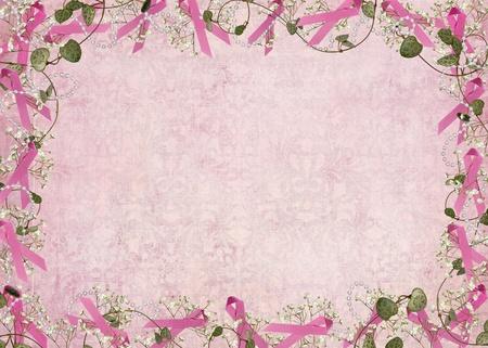 Le cancer du sein ruban rose avec des perles et des frontières lierre Banque d'images - 11981015