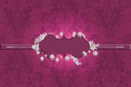 fancy maroon frame with flowers on damask background Stock Photo - 12012278