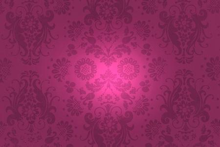 wine colored damask background with illumination photo